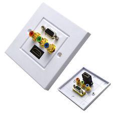 HDMI VGA 3RCA AV Wall Plate Composite Video Audio Jack Outlet HDTV Socket Panel