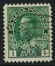 Perfin C8-CCC (Canada Cement Co) Scott 104, 1c King George V Admiral, Position 1