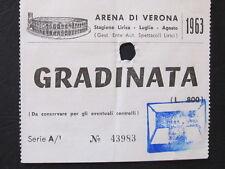 SPLENDIDO E RARO BIGLIETTO TICKET INGRESSO ARENA DI VERONA LIRICA 1963