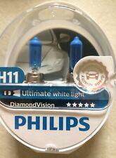H11 DIAMOND VISION CAR BULBS PHILIPS ULTIMATE WHITE LIGHT Pair Bulbs