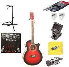 Oscar Schmidt OG10CEFTR Flame Trans Red A/E Guitar w/Picks, Strings + More!!!