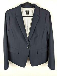 Ann Taylor Factory Blazer Jacket Button Front Navy Blue Pockets Women's Size 14P