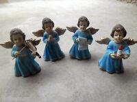 Lot de 4 petits anges en résine polychrome 7 cm hauteur