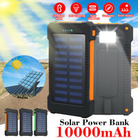 10000mAh Solar Power Bank Dual USB Port with Compass + Bright Flashlight Travel