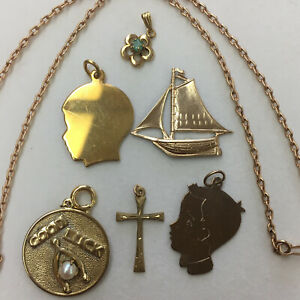 Lot of Vintage Estate Gold Filled Gold Tone Jewelry-1 Chain & 6 Pendant Charms