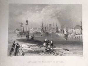 DUNDEE, Entrance To The Port 1842 Antique Print Original, Bartlett Scotland