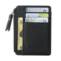 DV_ Men Faux Leather Credit Card Cash Holder Case Zipper Slim Wallet Coin Purse