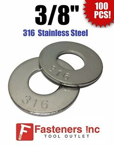 """(Qty 100) 3/8"""" Grade 316 Stainless Steel Flat Washer GRADE 316"""