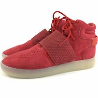 Adidas Tubular Invader Strap Sneakers Mens Size 9 Red Suede High Top Shoes New
