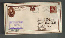 1937 England MV Rochester Castle Maiden Voyage Ship Cover to Canada w clippings