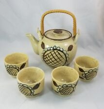 Stoneware Tea Set, Pot with Rattan Handle and 4 teacups, tan country rustic look