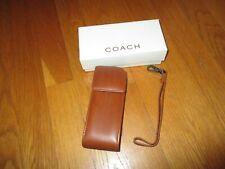 NIB New Vintage COACH Brown Leather Cell Phone Case w/ Wrist Strap Original Box