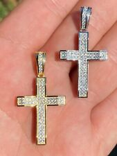 "Solid 925 Sterling Silver 1"" Iced Diamond Cross Pendant - Gold Hip Hop Necklace"