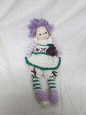 "Vtg Ice Cream Doll Homemade Crotchet Grape Dress 20"" Tall Purple Hair"
