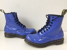 Womens Purple Dr Martens Leather Patent Ankle Boots Uk5 EU38 Lightly Worn
