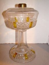 Findlay Six Panel Fine Cut Amber Stained Oil Lamp Base EAPG