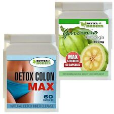 60 GARCINIA CAMBOGIA 1000MG 60 DETOX MAX COLON CLEANSER WEIGHT LOSS DIET PILLS