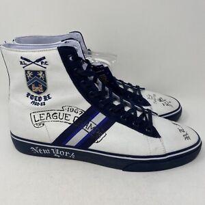 Polo Ralph Lauren Mens Solomon II New York White Hi Top Casual Shoes Size 13 D