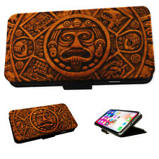 Aztec Face Design - Flip Phone Case Wallet Cover Fits Iphone & Samsung