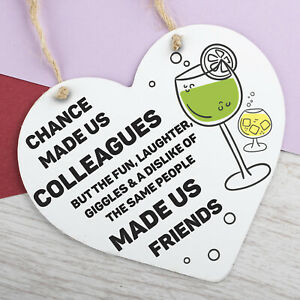 Chance Made Us Colleagues Gifts Heart Plaque Hanging Sign Friendship Friends