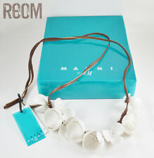 Marni at H&M White Flower Necklace Leather Petal Collier new with defects
