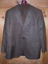 Chester Barrie chaqueta, talla 50r, marrón-a cuadros, 100% seda, hecha en Inglaterra