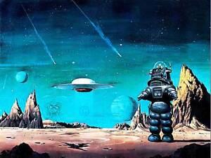 ROBBY ROBOT FORBIDDEN PLANET SPACE STARS SCI FI USA ART POSTER PRINT CC6434