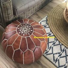 Moroccan Genuine Leather Boho Pouf Ottoman Footstool Pouffe Tan Brown expr. ship