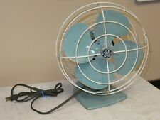 Vtg 1950s General Electric GE No F138107 Turquoise Oscillating Fan Works!