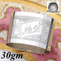 "Antique French .800 Silver Napkin Ring, Guilloche Style Decoration, ""A.D."" Mono"