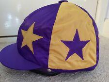 Racesafe traditional sewn silk jockey skull cap hat cover Size M Purple & Gold