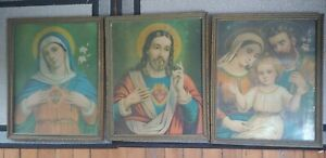 Vtg~ Set Of 3 Beautifully Framed Lithographs ~Scared Heart Jesus Mary and Joseph