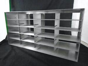 "Laboratory Stainless Steel Adjustable 20/12-Position 2""/3"" Freezer Box Rack"