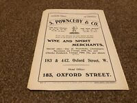 "(PLP8) ADVERT 11X8"" S. POWNCEBY & CO WINE AND SPIRIT MERCHANTS"