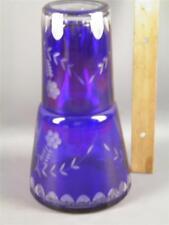 VINTAGE BOHEMIAN CZECH  BLUE CUT TO GLEAR GLASS BOUDOIR  DECANTER & TUMBLER
