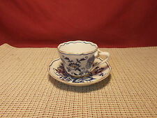 Vintage Maruta China Japan Blue Onion Design Gold Accent Teacup & Saucer Set