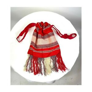 1910s silk purse with fringe drawstring red striped