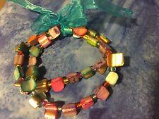 Grandmas Estate Jewelry Two MOP Stretch Bracelets (MIA)