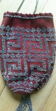 ANTIQUE ART DECO BEADED PURSE METAL BEADS EXTREMELY CLEAN LEATHER INTERIOR