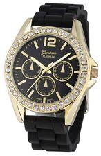 Geneva Gold Rhinestone Bezel Silicon Strap Watch 9707 - Black COD Paypal