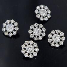 6 Pcs Clear Crystal Rhinestone Buttons Flatback Embellishment Wedding Craft