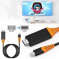 Black Thunderbolt Mini DisplayPort DP to HDMI 4K Cable For Macbook Pro Air iMAC