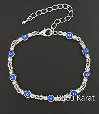 Strass Nazar Blue Evil Eye Silber Armband Armkette Magisches Auge Böser Blick