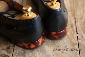 Gucci Black Leather Tortoise Shell Heel Shoes Brogue Men's UK 7 EU 8 US 41
