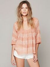 139503 NWD $98 Free People FP ONE String Me On Peach Blouse Printed Top XS US