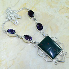 "BEAUTIFUL GENUINE RARE BLOOD STONE AMETHYST NECKLACE 20"" IN 925 STAMPED SILVER"