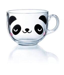 PANDA Glass Cappuccino Mug Cup Animal Bear Coffee Tea Novelty Hot Chocolate Gift
