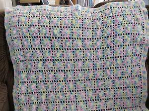 Beautiful Handmade Crochet Blanket Throw Afghan - pink, blue, yellow, white