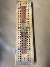 Vintage Handmade Cribbage Wooden Score Board  - Inlaid Wood Design
