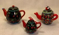 Lot of 3 Various Mary Engelbreit Cherry Orchard Teapot Cherries Ornaments I333